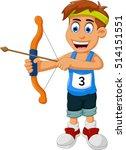 funny boy cartoon sports archery   Shutterstock .eps vector #514151551