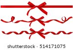 Set of decorative beautiful red bows with horizontal ribbons isolated on white. Vector bow  | Shutterstock vector #514171075