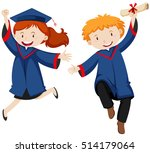 boy and girl in graduation gown ...   Shutterstock .eps vector #514179064