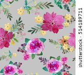 romantic floral seamless... | Shutterstock . vector #514189711