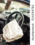 Small photo of Blur of Airbag exploded at a car accident,Car Crash air bag,Airbag work