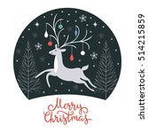 christmas card  christmas deer | Shutterstock .eps vector #514215859