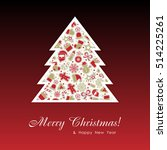 merry christmas background with ... | Shutterstock .eps vector #514225261