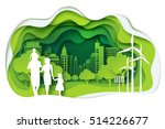 paper art of family and park on ... | Shutterstock .eps vector #514226677