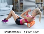 workout. woman exercise at home   Shutterstock . vector #514244224