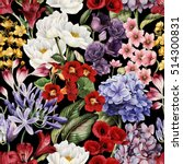 Stock photo seamless floral pattern with flowers watercolor 514300831