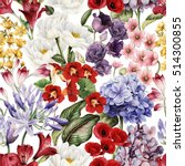 seamless floral pattern with... | Shutterstock . vector #514300855