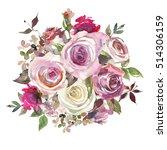 pink white roses leaves... | Shutterstock . vector #514306159