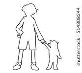 Kid With Small Bear Silhouette...
