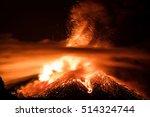 night eruption of volcano etna   Shutterstock . vector #514324744