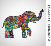 psychedelic elephant body... | Shutterstock .eps vector #514344415
