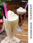 ice coffee on wooden table from ... | Shutterstock . vector #514353325