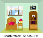 living room with opened window | Shutterstock .eps vector #514358641