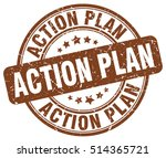 action plan stamp. brown round... | Shutterstock .eps vector #514365721