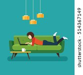 happy girl lying on the couch... | Shutterstock .eps vector #514367149