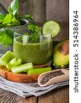 healthy green juice smoothie... | Shutterstock . vector #514386964