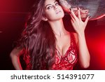 Stock photo young women at the night club in red dress 514391077