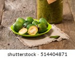 Fresh Fruits Of Feijoa In A...