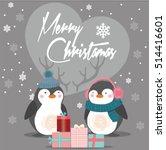 merry christmas vintage card... | Shutterstock .eps vector #514416601
