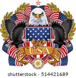 american eagle with usa flags | Shutterstock .eps vector #514421689