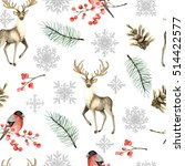 seamless christmas pattern with ...   Shutterstock . vector #514422577