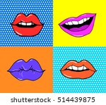 pop art lips isolated. warhol... | Shutterstock .eps vector #514439875