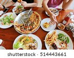 family group hand eating big... | Shutterstock . vector #514443661