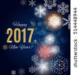 2017 happy new year gold glossy ... | Shutterstock . vector #514448944