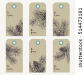 christmas gift tags with pine... | Shutterstock .eps vector #514473181