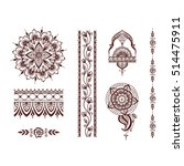 floral mehendi pattern ornament | Shutterstock .eps vector #514475911