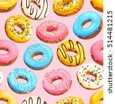 glazed donuts seamless | Shutterstock .eps vector #514481215