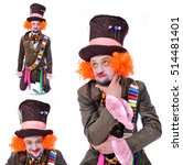 Small photo of Collage of three portraits, isolated: The insane funny Hatter. A man with curly red hair dressed in a velour brown frock coat, cylinder hat and the bow tie grimacing and is playing the fool