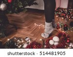 woman decorating a christmas... | Shutterstock . vector #514481905