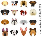 dog faces set on white... | Shutterstock .eps vector #514482529