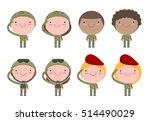 set of soldiers. men and women. ... | Shutterstock .eps vector #514490029