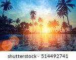 palm trees reflection in the... | Shutterstock . vector #514492741