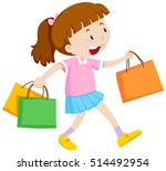 little girl with three shopping ... | Shutterstock .eps vector #514492954