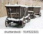 The Old Wooden Carts In The Snow
