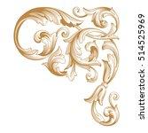 gold vintage baroque corner... | Shutterstock .eps vector #514525969