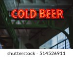Red Cold Beer Neon Sign At Bar...