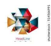 glossy glass modern triangle... | Shutterstock . vector #514566991