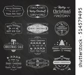 vintage christmas and new year... | Shutterstock .eps vector #514579495