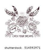 hand drawn boho style design... | Shutterstock .eps vector #514592971