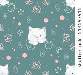vector white cat and beads... | Shutterstock .eps vector #514597915