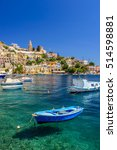 scenic waterfront on the greek... | Shutterstock . vector #514598881