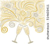 beautiful champagne glasses.... | Shutterstock .eps vector #514603411