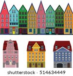set old european town houses.... | Shutterstock .eps vector #514634449
