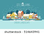 cityscape. the city in winter... | Shutterstock .eps vector #514643941