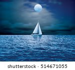 sailboat sail on blue sea ocean ... | Shutterstock .eps vector #514671055