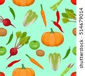 seamless vegetables pattern.... | Shutterstock .eps vector #514679014
